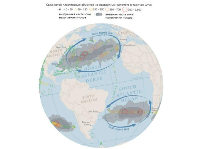 """составлена карта """"пластиковых материков"""" Мирового океана"""