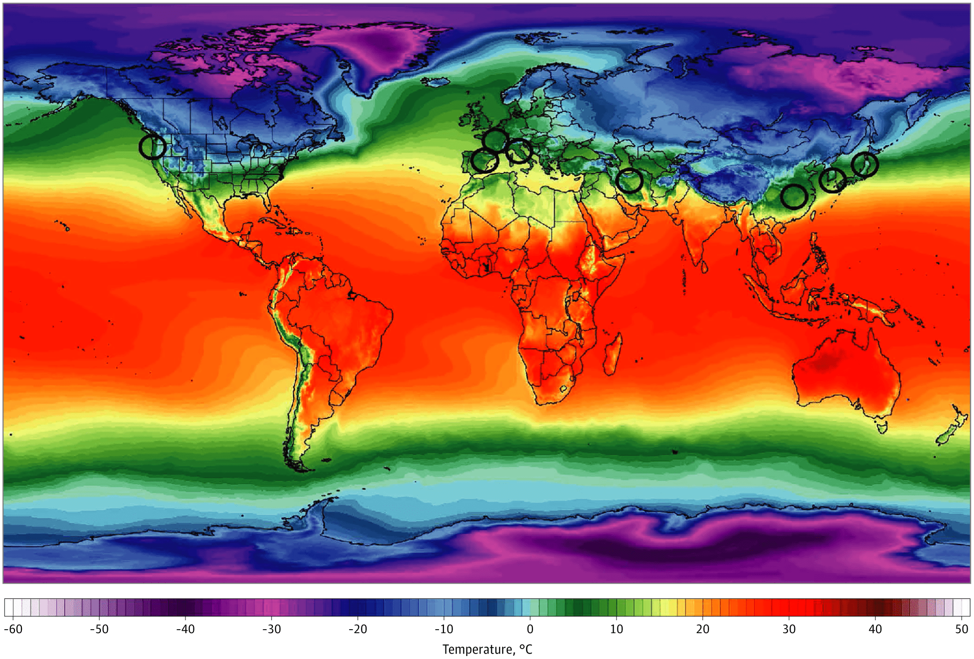 Связь между распространением коронавируса и погодой показали на карте